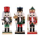 MagiDeal 3 Set Handpainted 20cm Wooden Nutcracker Soldier Figures Figurine Home Ornaments Kids