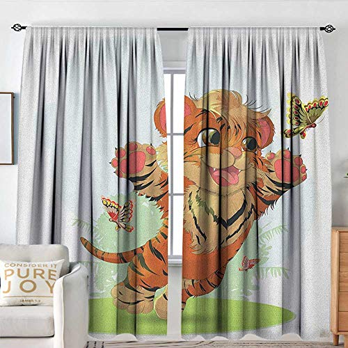 - Living Room Curtains Cartoon,Cub Playing with Butterflies in The Meadow Joyful Lively Baby Tiger Cat, Orange Cream Green,All Season Thermal Insulated Solid Room Drapes 60