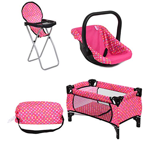 """Fash N Kolor3 Piece Set Baby Doll Accessories, Includes 1 Pack N Play. 2.Doll High Chair. 3.Infant Seat, Fits Up to 18"""" Doll (3pc Set)"""