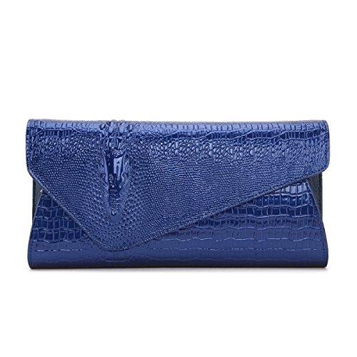 Señora Moda Embrague Embrague Invierno Nuevo Mano Bolso De Noche Patrón De Cocodrilo Embrague SapphireBlue