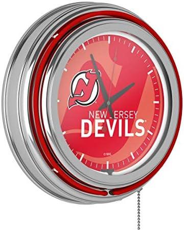 <span style=''>NHL Chrome Double Rung Neon Clock - Watermark - Ne..</span>