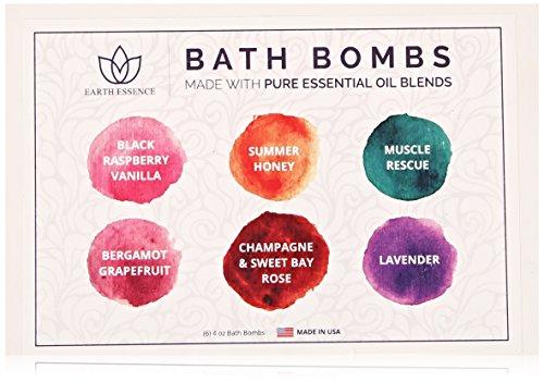 Terre Essence bain bombe cadeau ne mis aucun produit chimique, désordre organique Lush & nourrissant pour Relaxation & peau douce lavande Fizzy, 6 pièces