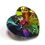 2 pcs 6228 Swarovski Elements Xilion Crystal Heart Charm Pendant Vitrail Medium 14mm / Findings / Crystallized Elements