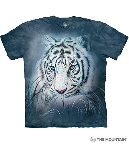 The Mountain Thoughtful White Tiger Adult T-Shirt, Blue, Medium