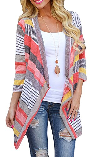 Lightweight Striped Sweater - Women's 3/4 Sleeve Open Drap Front Lightweight Geometric Print Knit Cardigan Sweaters (S, 1Red)