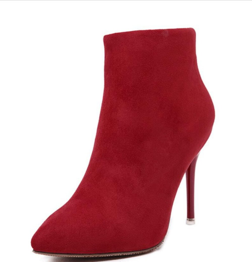 Amazon.com : LINYI Womens Booties Suede Pointed Toe Stiletto Heels Purple Red Grey : Sports & Outdoors