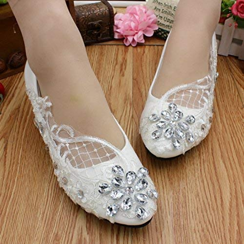 Amazon Com Crystal Flat Wedding Shoes For Bride Prom High Heels