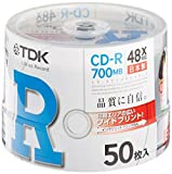 50 pieces of spindle CD-R80PWDX50PB TDK CD-R 700MB 48X White Wide printable made in Japan
