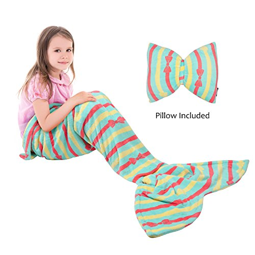 Catalonia Kids Mermaid Tail Blanket Pillow Cushion,Super Soft Coral Plush Fleece Mermaids Gift Snuggle Sleeping Bag for Girls Teens Children 60 x 21 ()