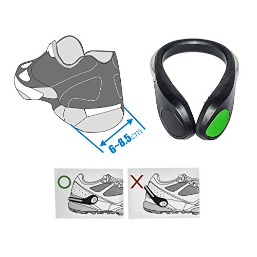 TEQIN Black Shell Green LED Flash Shoe Safety Clip Lights for Runners & Night Running Gear - Reflective Running Gear for Running, Jogging, Walking, Spinning or Biking + Velvet Bag - (Set of 2) by TEQIN (Image #3)