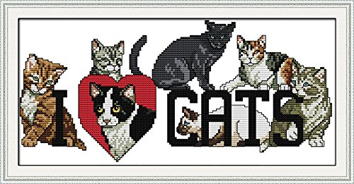 "Good Value Cross Stitch Kits Beginners Kids Advanced - LOVE Cat 11 CT 19""X 10"", DIY Handmade Needlework Set Cross-Stitching Accurate Stamped Patterns Embroidery Frameless"