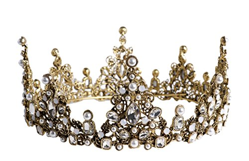 Arsimus Heavy Duty Princess Medieval Renaissance Bejeweled Pearl Gold Crown