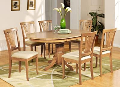 East West Furniture AVON7 7-Piece Avon Oval Dining Table Set