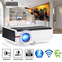 """200"""" LCD LED HD Android6.0 Projector WiFi Bluetooth 4200 Lumen WXGA, Multimedia Home Cinema Theater Video Projector 1080P HDMI VGA USB SD AV TV for Movie TV Video Game Home Outdoor Entertainment"""