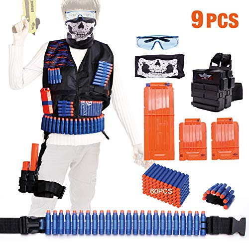 KASMOTION Set of 9 Tactical Vest Kit Compatible with Nerf Guns N-Strike Elite Series Blaster, Includes Refill Darts, Reload Clips, Tactical Mask, Waist Pack, Wrist Band and Protective Glasses