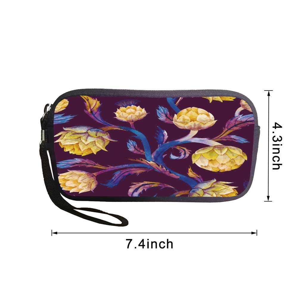 Nature Cute Coin Purse,Misty Morning in the Forest with Sun Rays Mother Earth Foliage Dawn Picture For shopping,7.4L x 4.3W