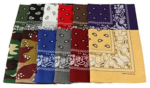 Paisley One Dozen Cowboy Bandanas (12 Colors Assorted 2, 22 X 22 in) -