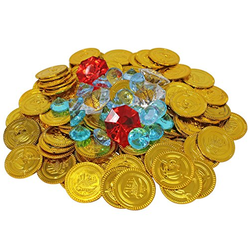 Nautical Cove Gold Coins and Diamond Jewelry Pirate Treasure Playset - Refill Pack for Gems, Coins, and Party Favors (Plastic Treasure)