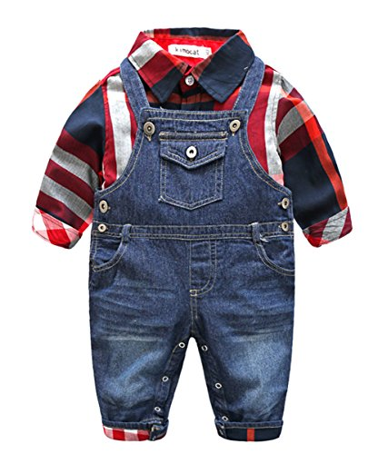 its Long Sleeve Plaid Shirt + Bib Jean Pant Overall(Red,3-6m) ()