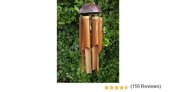 Móvil de bambú tamaño mediano/viento - hecho a mano en Bali - 45 cm de largo - procedentes del comercio justo!: Amazon.es: Jardín