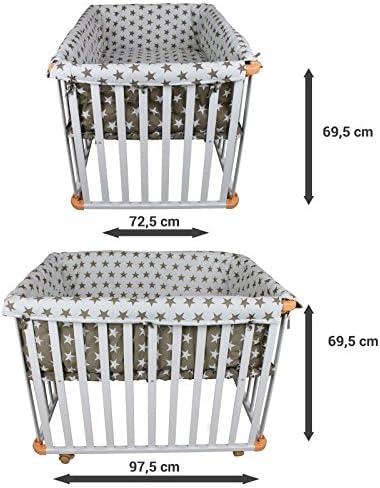 Monsieur Bébé ® Corralito, parque bebé evolutivo 4 lados de madera ...