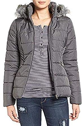 1b25dde3b6 Image Unavailable. Image not available for. Color  Krush Faux-Fur-Trim  Quilted Coat Jacket Charcoal ...