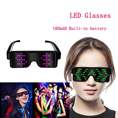 XUNPAZ LED Glasses Flashing Cool Party Light up Glasses can Work in 8 Animation Modes for 10 Hours for Nightclubs DJ Halloween, Birthday Parties New Year's Party -