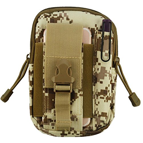 Heavy Duty Sports Waist Pack Pocket Belt for Asus PadFone X, AMAZON Fire phone, COOLPAD Defiant, Catalyst, Quattro 4G (Desert Camo) + MND Mini Stylus - Quattro Camo