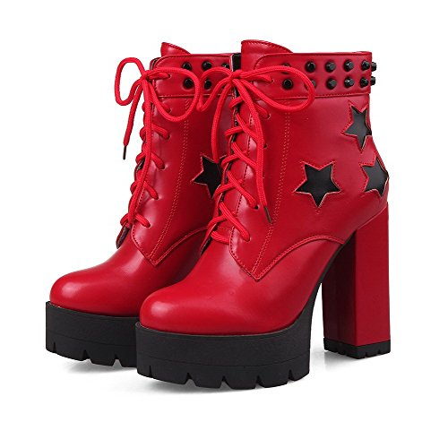 AllhqFashion Mujeres Puntera Redonda Cordones Dos tonos Tacón ancho Botas con Tachuelas Rojo