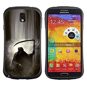 Fuerte Suave TPU GEL Caso Carcasa de Protección Funda para Samsung Note 3 N9000 N9002 N9005 / Business Style Death God Cloud Black White Metal