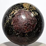"HC Set: Large 2.8"" 1.4lb Red Garnet w/ Black Tourmaline Drivite Sphere Natural Schorl Crystal Ball Polished Almandine Mineral Stone - India + One Polished Aragonite Cabochon from Peru"