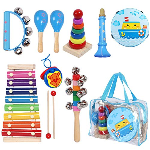 MAXZONE Toddler Kids Musical Instruments Sets, 12pcs Wooden Percussion Instruments Toys Tambourine Xylophone for Kids…