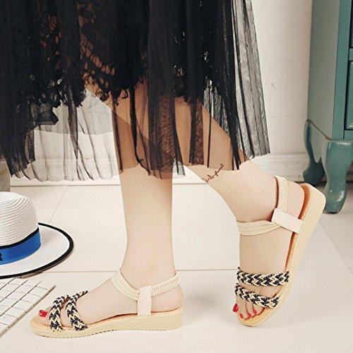 Elevin (tm) Femmes Été Mode Fleurs / Bandage / Rayé Bohème Peep-toe Plat Sandales Chaussures Flip Beige 1