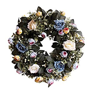 "Evoio Artificial Flower Wreath, 17.7""/45cm Artificial Rose Wreaths DIY Silk Flowers Garland Pendant for Front Door Wall Home Wedding Decoration Circular (Blue) 7"