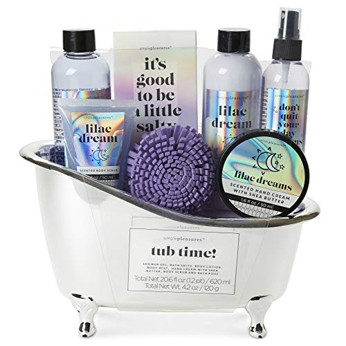 Tri-Coastal Design Simple Pleasures Lilac Dreams Bath Essentials Gift Set with Shower Pouf - Includes Body Lotion, Body Salt, Body Scrub, Body Spray, Hand Cream and Shower Gel, All Gently Scented