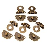 Dophee 5Pcs 40x36mm Drawer Cabinet Jewelry Wooden Case Box Antique Bronze Lock Staple Latch Hasp Vintage Latch Hasp