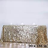 BalsaCircle 90-Inch x 156-Inch Champagne Big Payette Sequin Tablecloth Table Linens Wedding Party Events Decorations Kitchen Dining