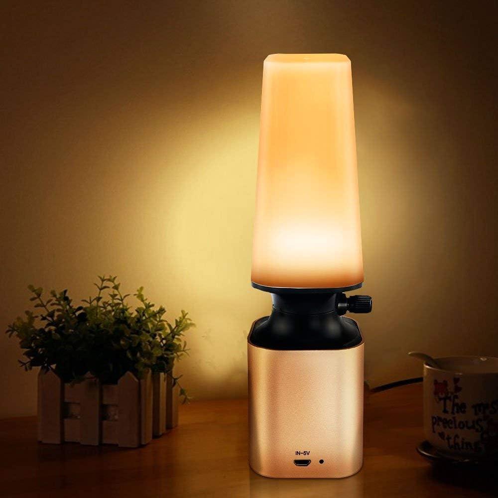Anpress Retro LED Night Light Imitate Kerosene Oil Lamp Design with 10-Level Dimmer Control Knob Eye Care LED Desk Light USB Rechargeable Lamp for Reading Home Working Office Study