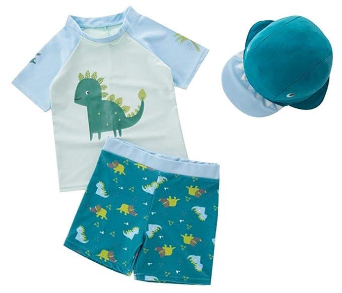 2c53e04e0 Baby Toddler Boys Two Piece Rashguard Swimsuit Kids Short Sleeve Sunsuit  Swimwear Sets with Hat