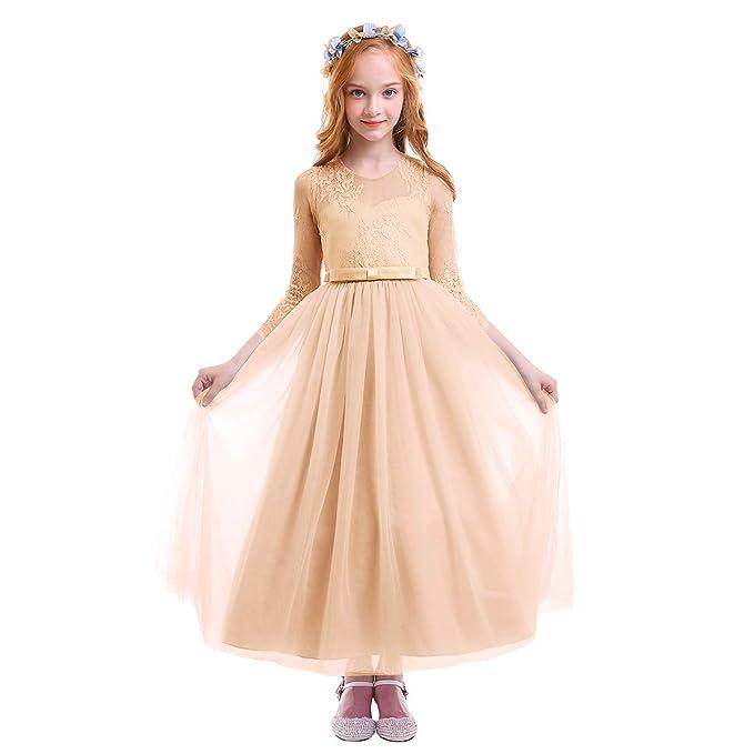 a8af138d62fe1 Communion Fille Junior Fleur Enfant D honneur Dentelle Maxi Première  Événement Robe Mariage Fête Princesse Formel Tutu De Demoiselle pwqR7qvd