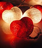 Design by UnseenThailand Handmade Heart Cotton Ball String Lights Decoration (3metre 20 Globes/pack) Decor Wedding Bedroom Garden Spa and Holiday Lighting. (White - Red)