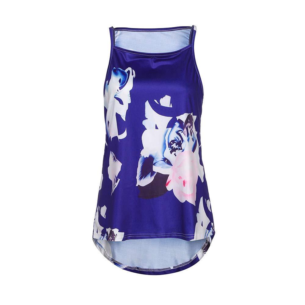Lookatool Tank Top Casual Blouse Vest T Shirt Women Sleeveless Flower Printed