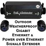 USG Outdoor Weather-poof Gigabit Ethernet & Power Over Ethernet Signals Extender Booster : PoE+ 25W, No External Power Supply, RJ45 Jacks, Extend PoE & Network Ethernet Signal 300ft : Business Grade