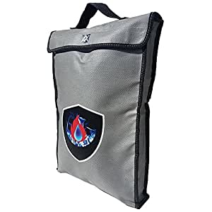 """Fire and Water Resistant Document bag measuring 17""""x12""""x2"""" made with NON-ITCHY materials, includes ZIPPER and Velcro closure perfect for keeping money, documents, and your important items protected"""