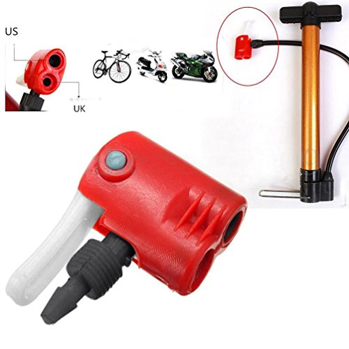 (Chartsea Bicycle Bike Cycle Tyre Tube Replacement Dual Head Air Pump Adapter Valve (Red))