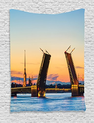 Ambesonne Apartment Decor Tapestry By, View Of Palace Bridge With Peter And Paul Fortress St Petersburg White Nights Russia, Bedroom Living Room Dorm Decor, 40 W x 60 L Inches, (Party City St Petersburg)