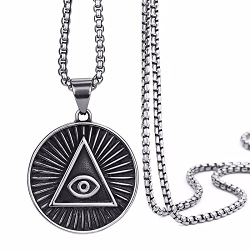 Elfasio Mens Stainless Steel Pendant Necklace Illuminati The All Seeing Eye Illunati Pyramid Eye Symbol Chain 20
