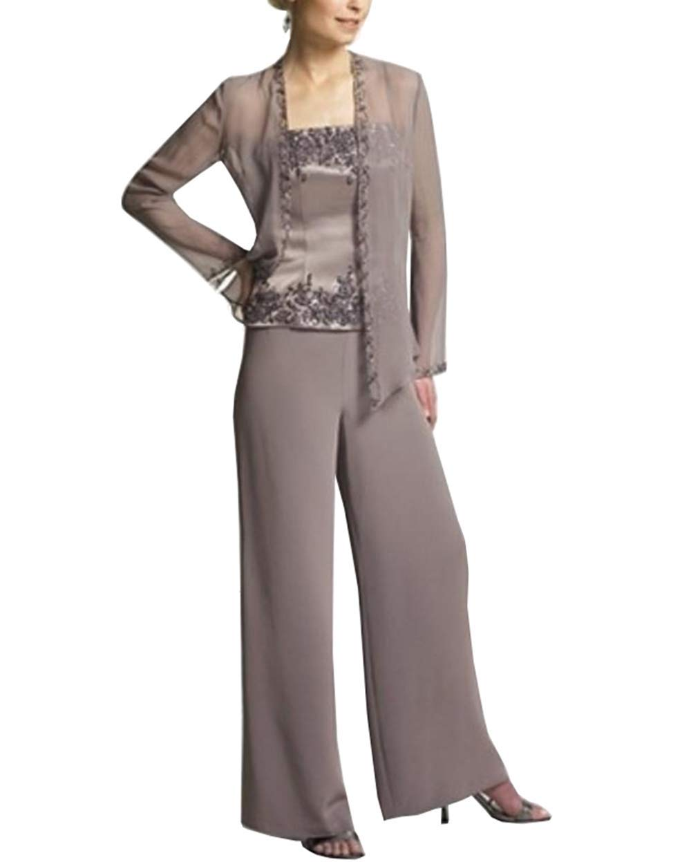 6c4318efba3e2 Home Brands Fitty Lell Fitty Lell Women s Chiffon Prom Dresses with Jacket  Mother of The Groom Gown Mother of The Bride Pant Suits(US2