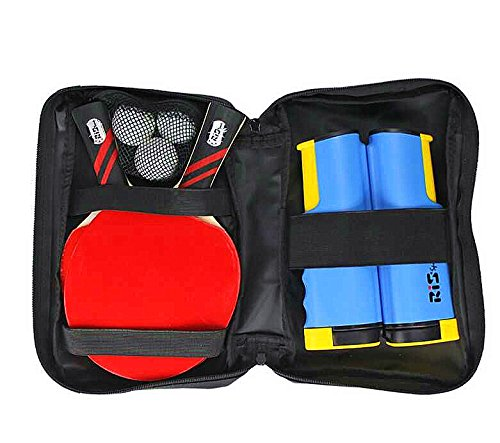 Table Tennis Combo Pingpong Set 2 Offensive Bats 3 Balls Retractable Net Carry Bag Ready to Go Umpire Combo Kit