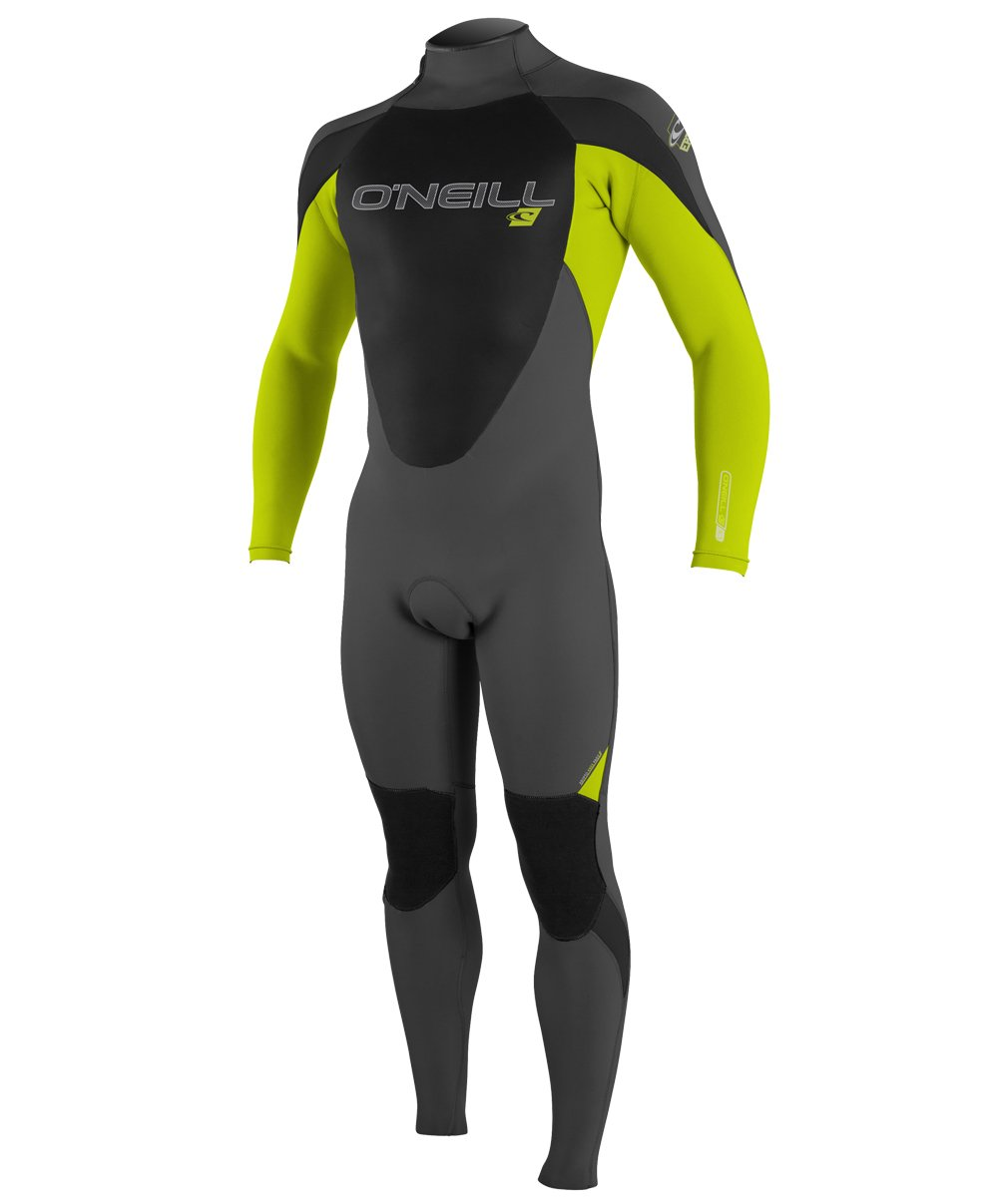 O'Neill Youth Epic 3/2mm Back Zip Full Wetsuit, Graph/Lime/Black, 4